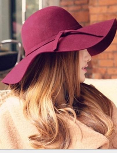 หมวกปีกกว้างเที่ยวทะเล สีไวน์แดง ผ้าสักหลาด ทรงสวย