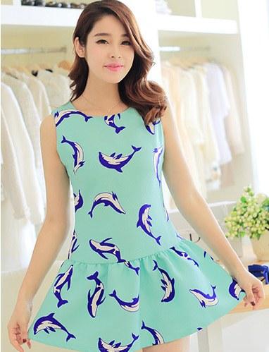 ชุดเดรสสั้นน่ารักๆแฟชั่นเกาหลี สีเขียวมิ้น ผ้าคอลตอล ลายปลาโลมา คอกลม แขนกุด ซิปหลัง