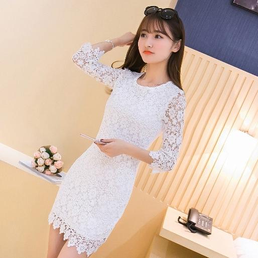 ชุดเดรสลูกไม้สีขาว เข้ารูป แขนยาว แฟชั่นสไตล์เกาหลีสวยๆ น่ารักๆ