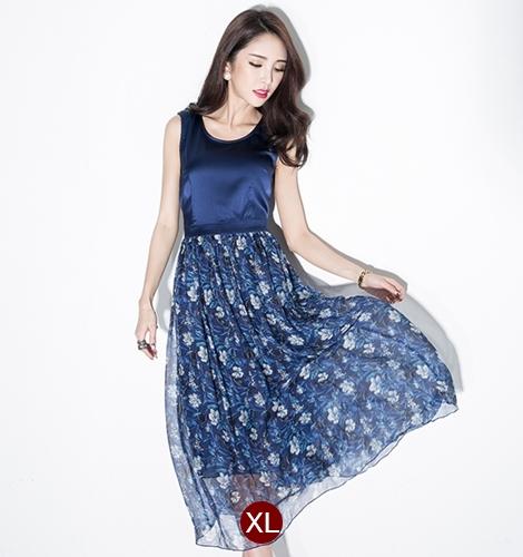 ชุดเดรสยาวสีกรมท่า แขนกุด เอวเข้ารูป กระโปรงลายดอกไม้ สวยหวานสไตล์เกาหลี ไซส์ XL