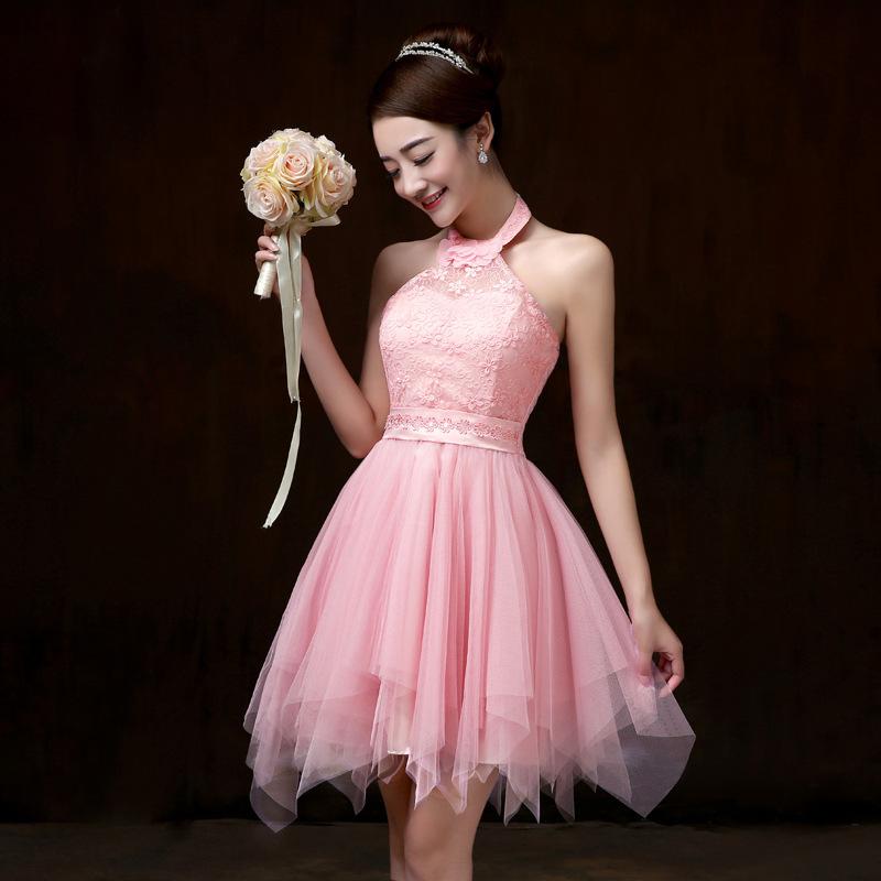 ชุดราตรีสั้น ชุดเพื่อนเจ้าสาว ชุดไปงานแต่งงาน สีชมพู คล้องคอ สวยๆ แนวหวาน น่ารัก