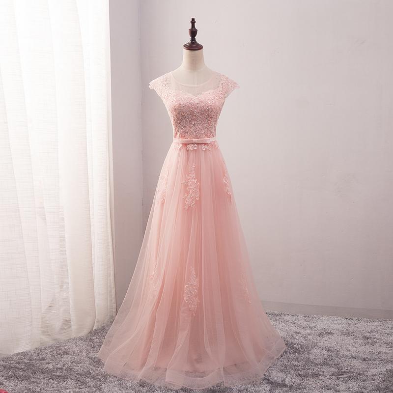 ชุดราตรีชุดออกงานชุดไปงานแต่งสีชมพูสวยหรูราคาถูก