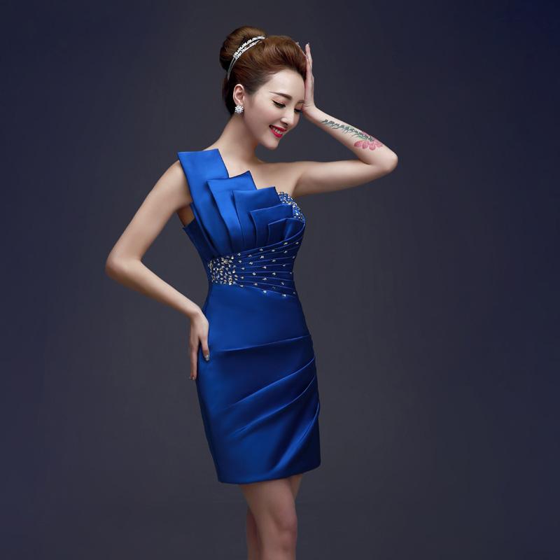 ชุดราตรีชุดออกงานชุดไปงานแต่งสีน้ำเงินเรียบหรูดูดี
