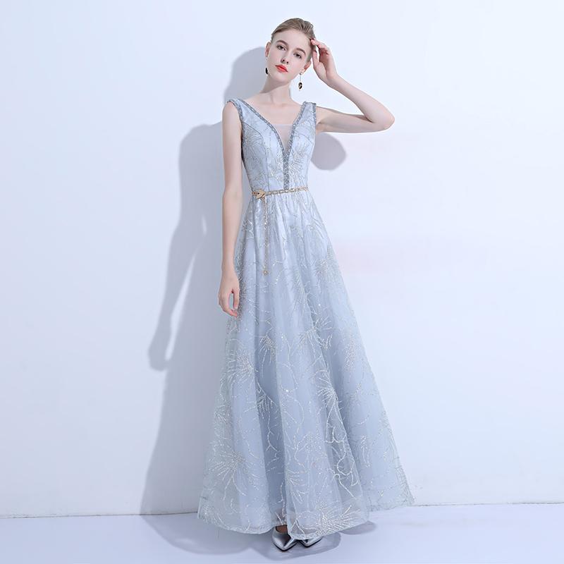ชุดราตรีชุดออกงานชุดไปงานแต่งสีฟ้าเรียบหรูดูดี