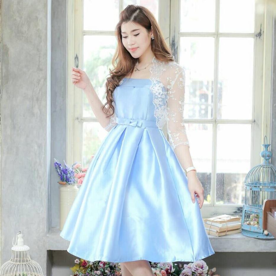 ชุดเดรสออกงาน/ชุดไปงานแต่งงานสวยหรู ดูดี สีฟ้า