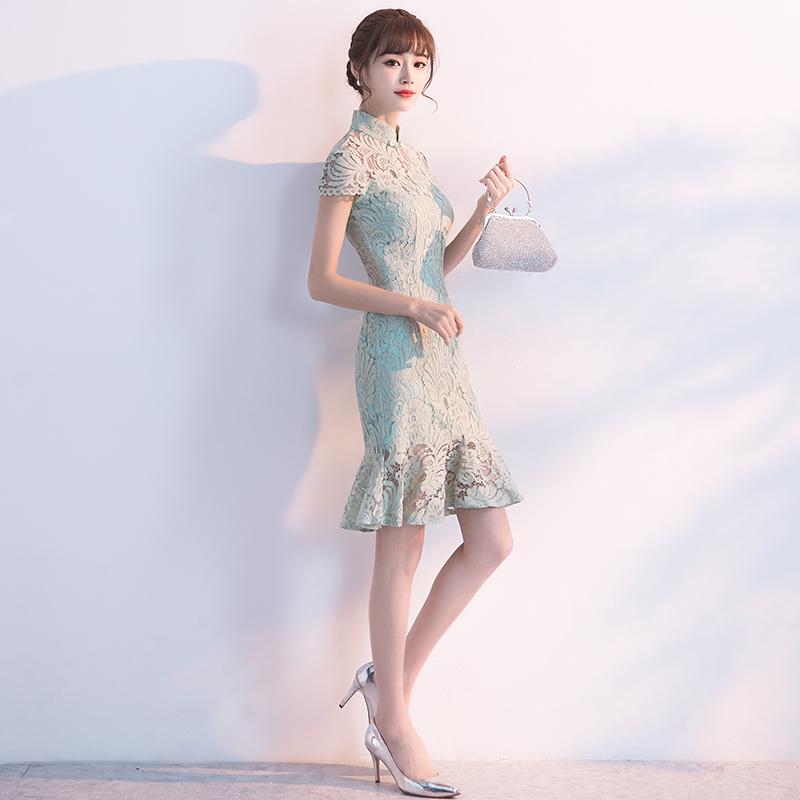 ชุดราตรีชุดออกงานชุดไปงานแต่งสีเขียวสวยหรูราคาถูก