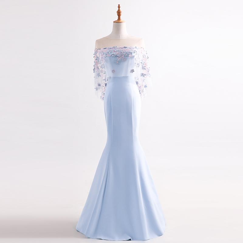 ชุดราตรีชุดออกงานชุดไปงานแต่งสีฟ้าดูดีสวยหรู