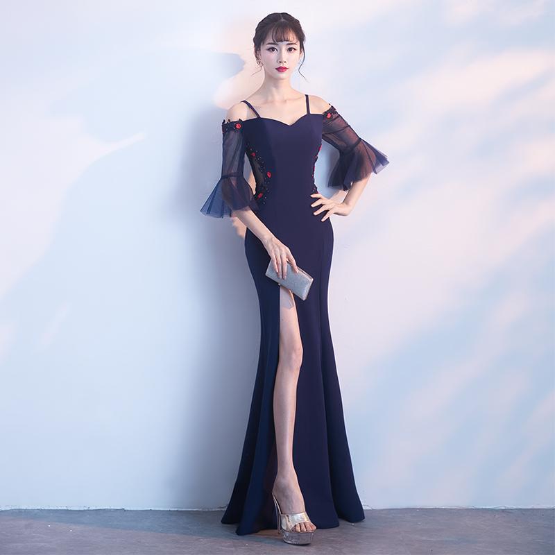 ชุดราตรีชุดออกงานชุดไปงานแต่งสีน้ำเงินดูดีสวยหรู