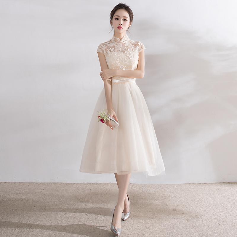 ชุดราตรีชุดออกงานชุดไปงานแต่งสีครีมดูดีสวยหรู