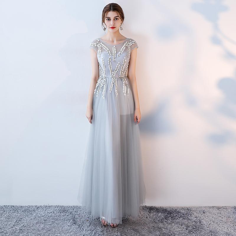 ชุดราตรีชุดออกงานชุดไปงานแต่งสีเทาน่ารัก