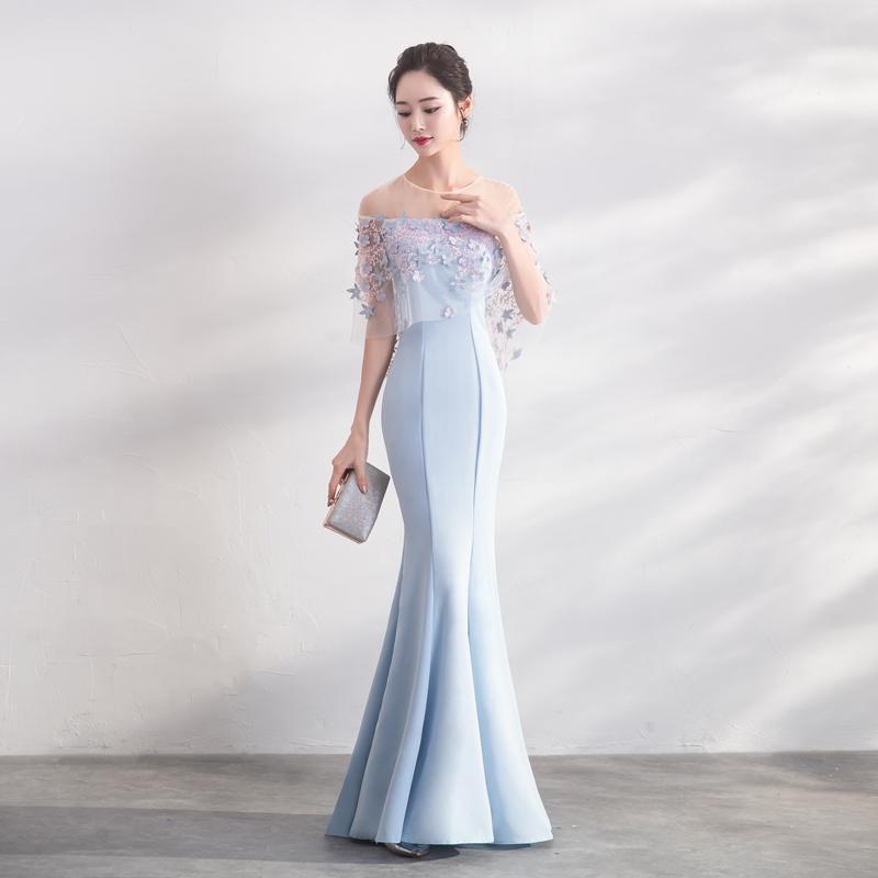 ชุดราตรีชุดออกงานชุดไปงานแต่งสีฟ้าสวยหรู