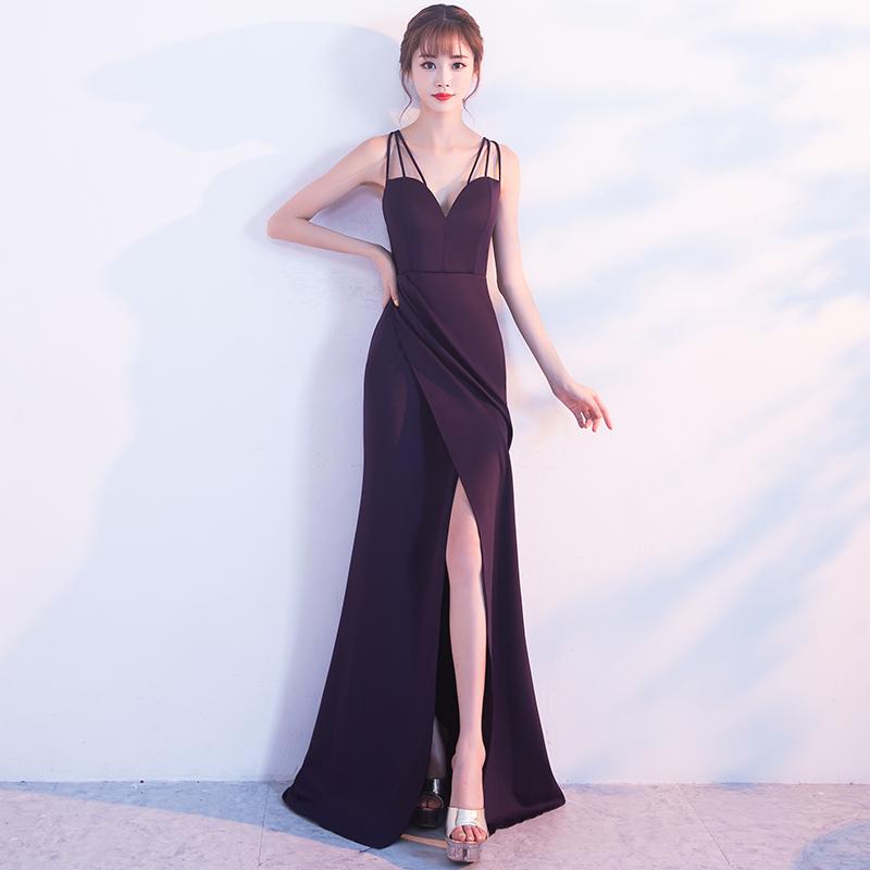 ชุดราตรีชุดออกงานชุดไปงานแต่งสีม่วงสวยหรู