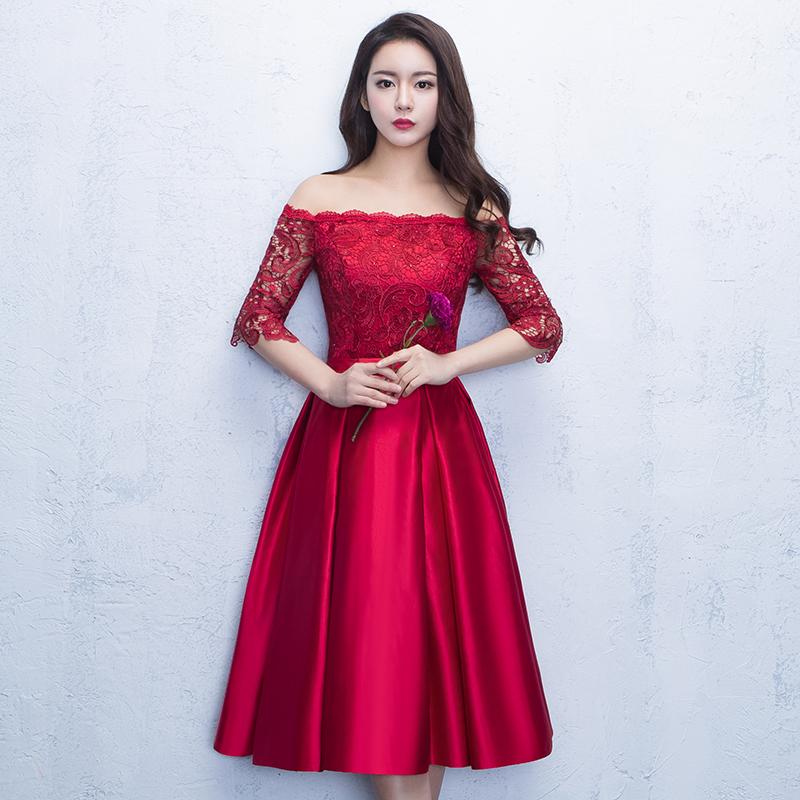 ชุดราตรีชุดออกงานชุดไปงานแต่งสีแดงน่ารัก