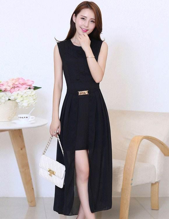 ชุดแซกยาวสวยๆ สีดำ ผ้ายืด