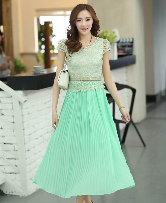 ชุดกระโปรงยาวสวยๆ สีเขียว ผ้ายืด