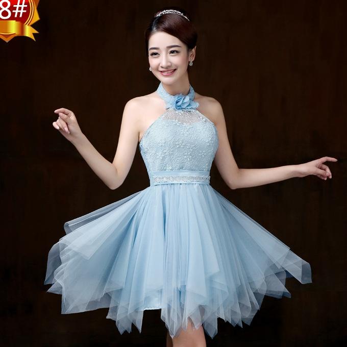 ชุดราตรีสั้น ชุดเพื่อนเจ้าสาว ชุดไปงานแต่งงาน สีฟ้า คล้องคอ สวยๆ แนวหวาน น่ารัก