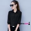 เสื้อเชิ้ตผู้หญิงทำงานสีดำ แขนยาว กระดุมหน้า ผ้าชีฟอง