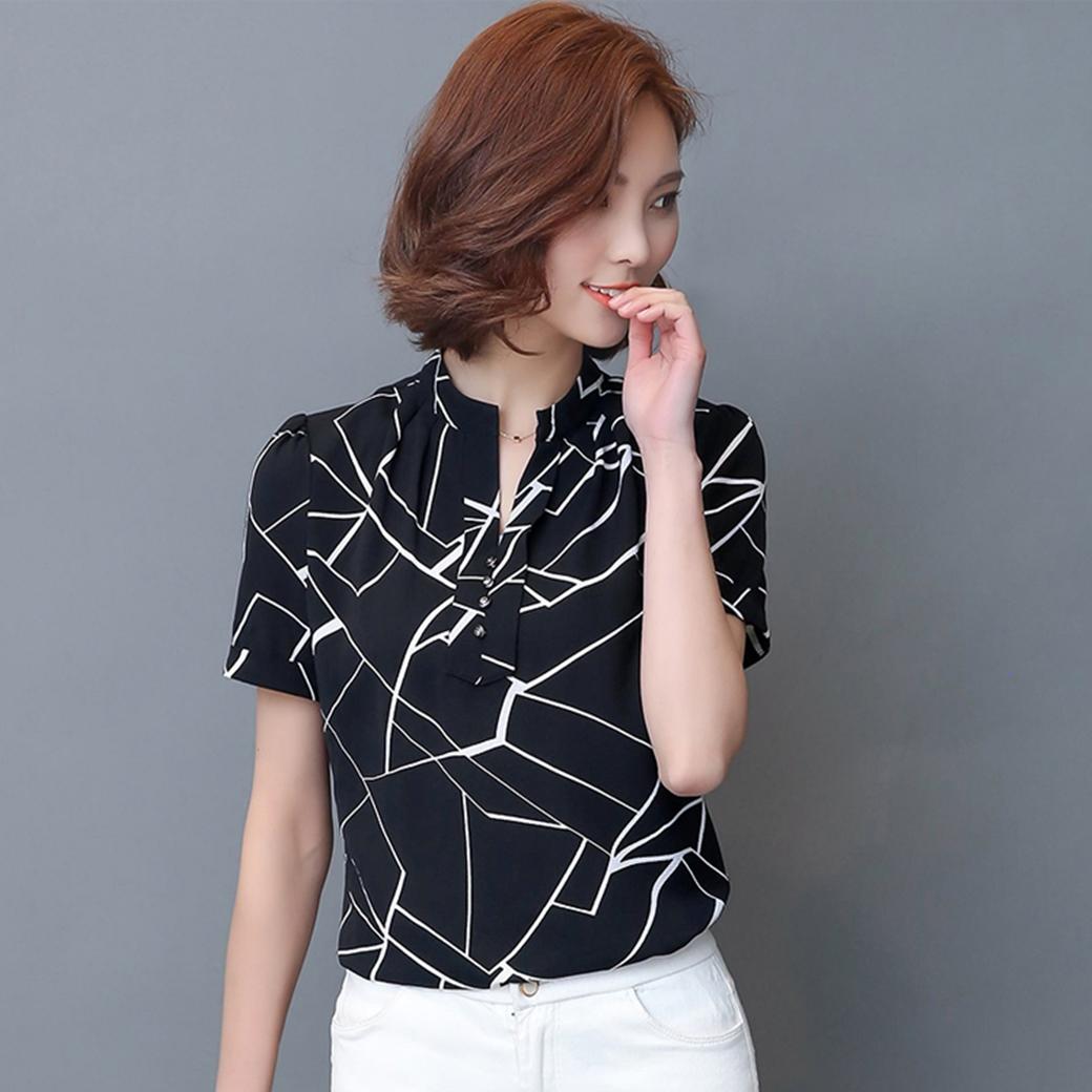 เสื้อเชิ้ตทำงานผู้หญิงสีดำ คอเชิ้ต แขนสั้น ผ้าสีฟอง แฟชั่นชุดทำงานสไตล์สาวออฟฟิศ