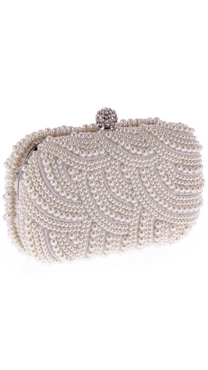 กระเป๋าคลัชออกงานสีขาว ประดับมุกทั้งใบ ถือออกงาน ไปงานงานแต่งงาน ลุคสวยหรู ดูดีสุดๆ