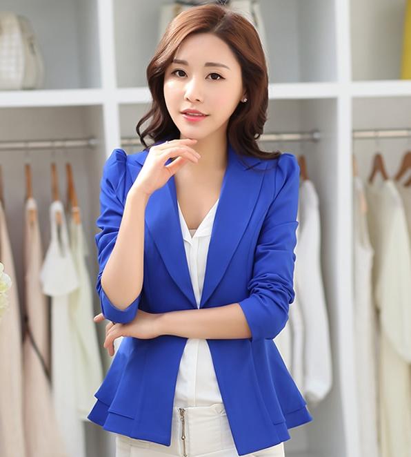 เสื้อสูททำงานผู้หญิงสีน้ำเงิน ชายเสื้อแต่งระบายสองชั้น ติดกระดุม แขนยาว