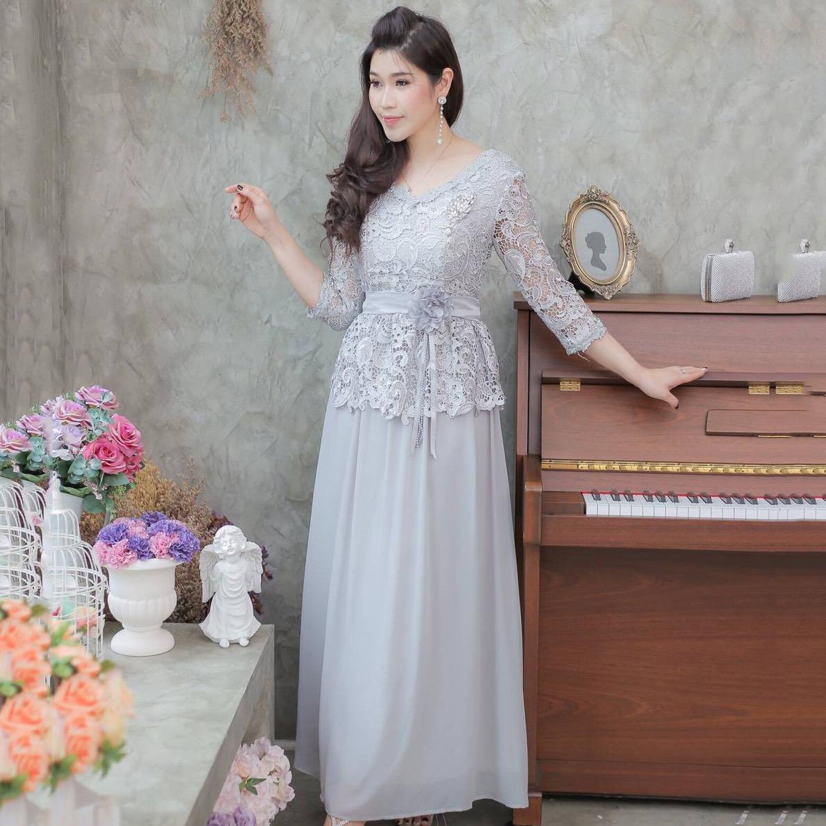 ชุดเดรสออกงานยาวสีเทา ลุคเรียบหรู ใส่ไปงานแต่งงาน ชุดแม่เจ้าสาว ชุดถือขันหมาก สวยสง่า ดูดีมากๆๆๆ