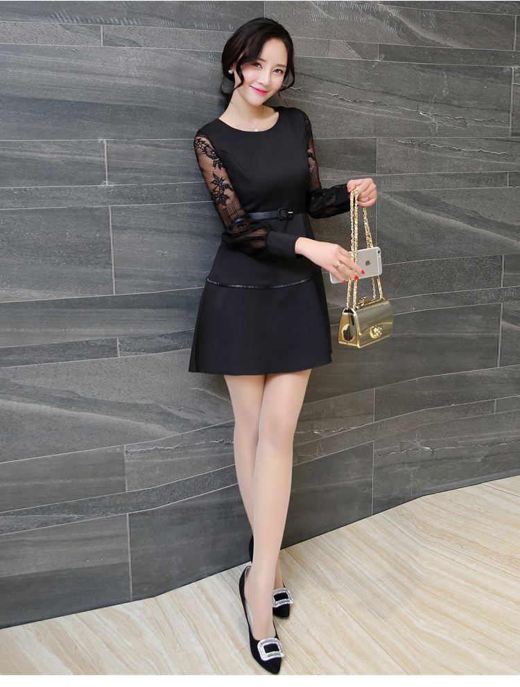 ชุดเดรสสั้นสีดำ แขนยาว กระโปรงทรงบาน ลุคสวยหวาน น่ารัก สไตล์เกาหลี
