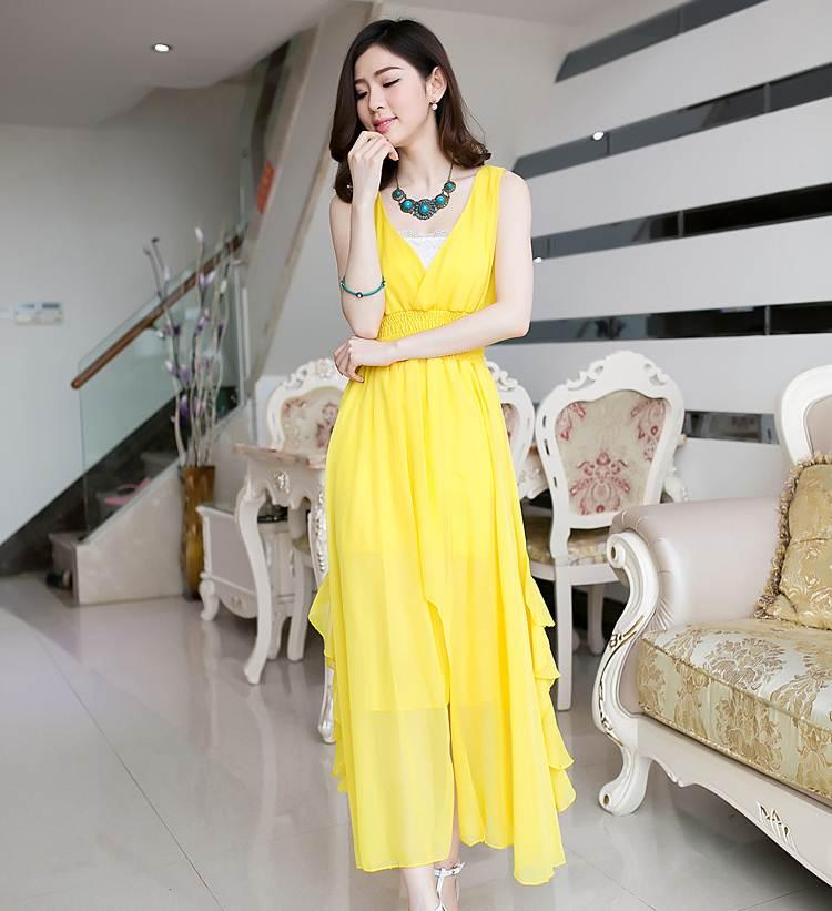 ชุดกระโปรงยาวสีเหลืองเข้ม ผ้ายืด