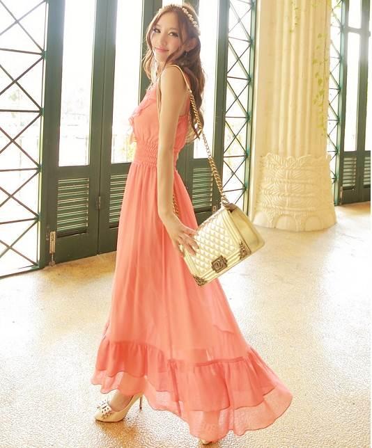 ชุดแซกยาวเกาหลี สีส้มเข้ม ผ้ายืด