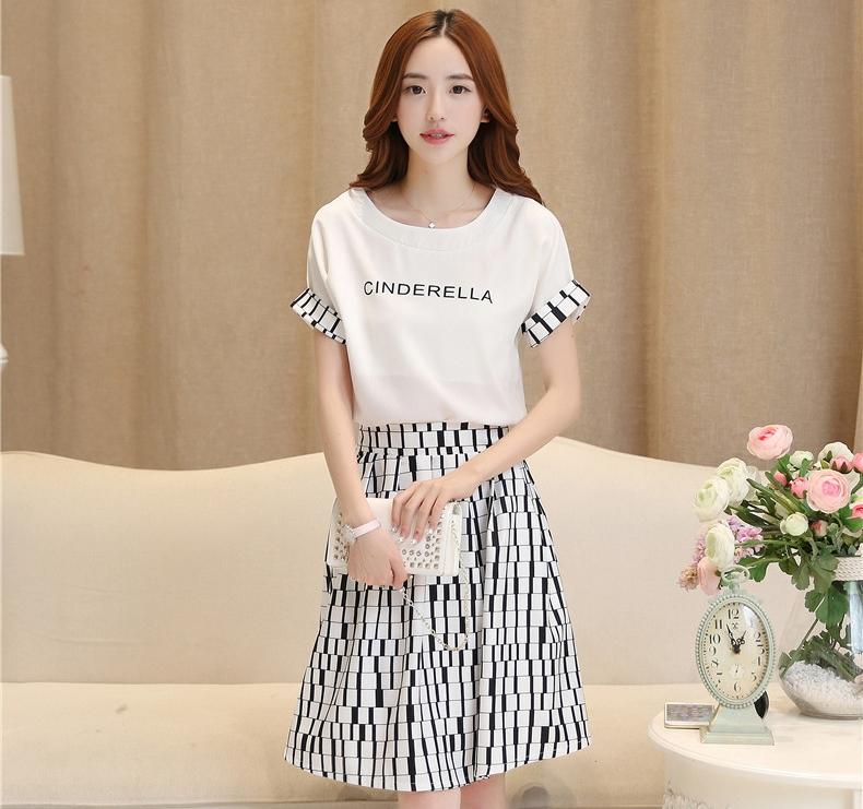 ชุดเซตเสื้อ-กระโปรงเข้าชุดโทนสีขาวดำ เรียบร้อยน่ารักแฟชั่นสไตล์เกาหลี