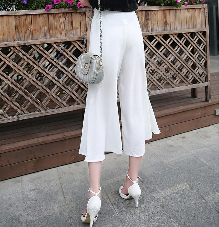 กางเกงขากว้างสีขาว ผ้าชีฟองเนื้อทราย เอวยืด สวยเก๋ สวมใส่สบาย