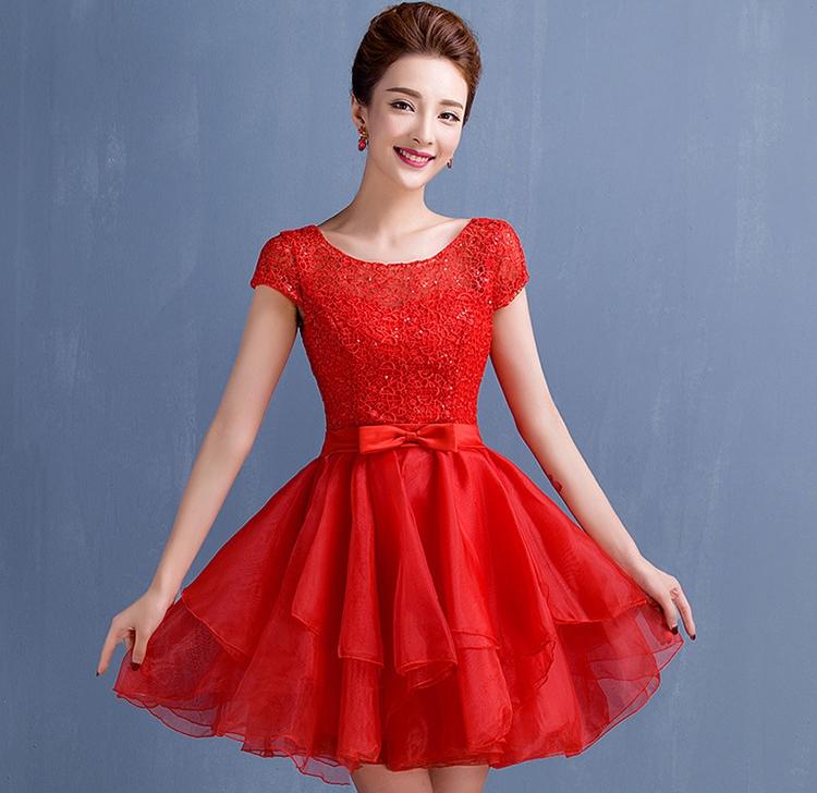 ชุดไปงานแต่งงาน ชุดออกงานสีแดง ผ้าลูกไม้+ผ้าไหมแก้ว มีแขน กระโปรงระบายเป็นชั้นๆ สวยหวาน น่ารักๆ สไตล์เจ้าหญิง