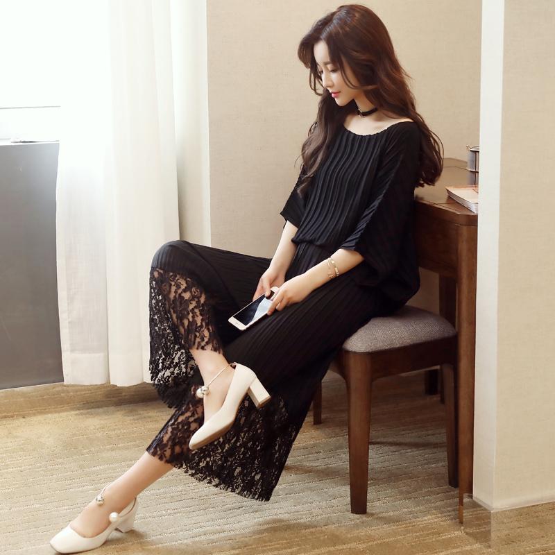 ชุดเซ็ทแฟชั่นสีดำ เสื้อ - กางเกง แนวเรียบๆสวยดูดี สไตล์เกาหลี