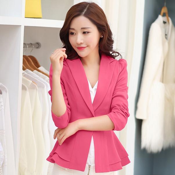 เสื้อสูททำงานผู้หญิงสีชมพู ชายเสื้อแต่งระบายสองชั้น ติดกระดุม แขนยาว