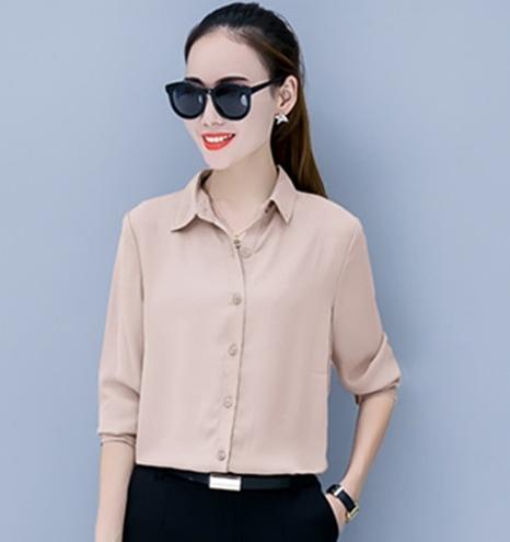 เสื้อเชิ้ตผู้หญิงทำงานสีครีม แขนยาว กระดุมหน้า ผ้าชีฟอง