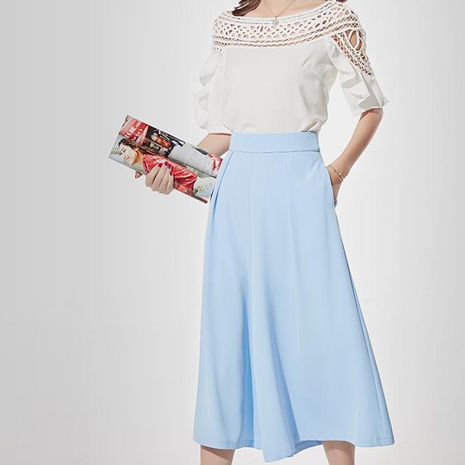 กางเกงขากว้างสีฟ้า ผ้าชีฟอง ทรงสวย ใส่สบาย