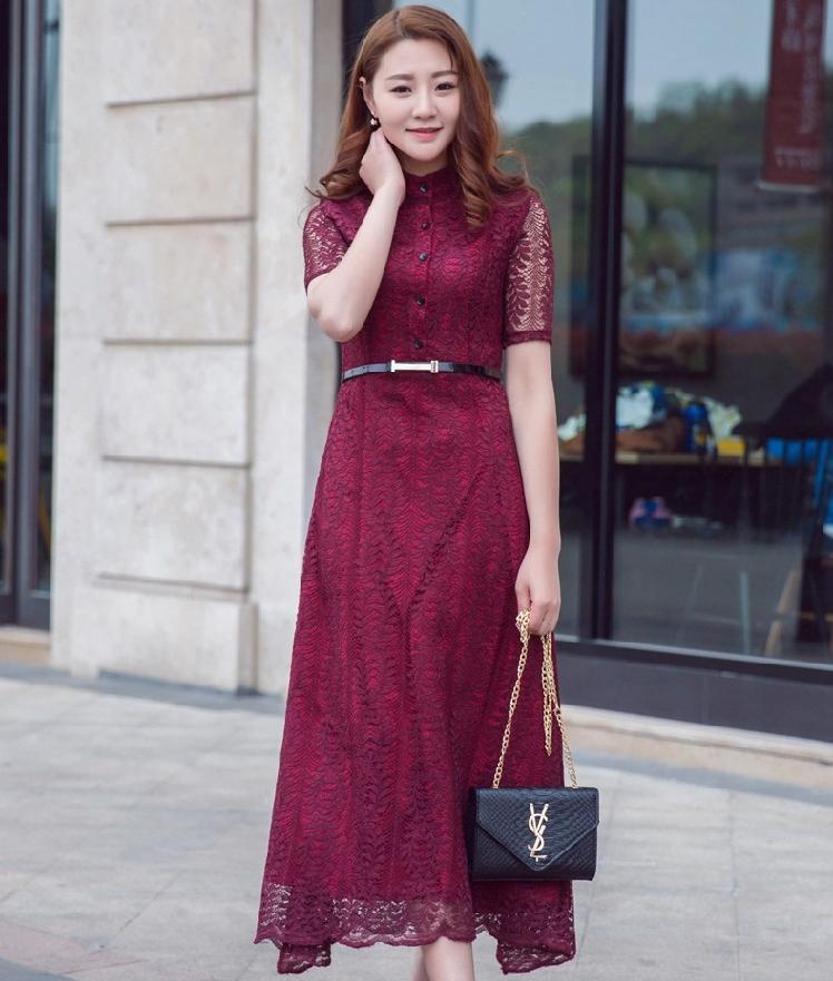 ชุดเดรสยาวสีแดงเข้ม ผ้าลูกไม้ คอจีน แขนสั้น ลุคสาวหวาน เรียบร้อย น่ารัก สไตล์เกาหลี