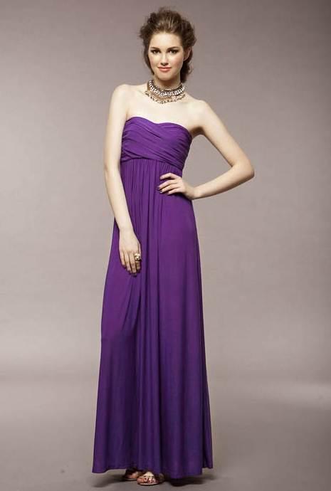 ชุดแซกยาวเกาหลี สีม่วง ผ้ายืด