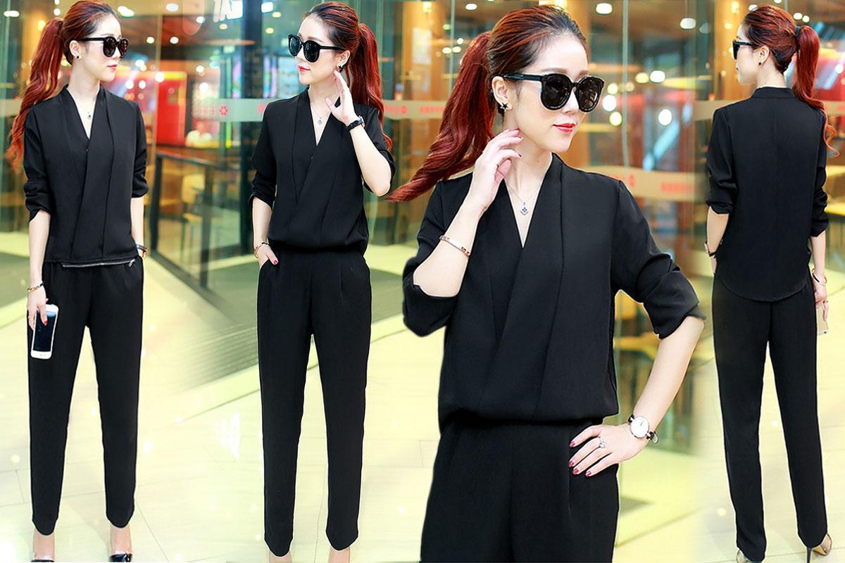 ชุดเซ็ทเสื้อกางเกงสีดำ เสื้อแขนยาว + กางเกงขายาว เอวแต่งซิปเก๋ๆ แนวเรียบๆ สวย ดูดี สไตล์สาวอออฟฟิศ