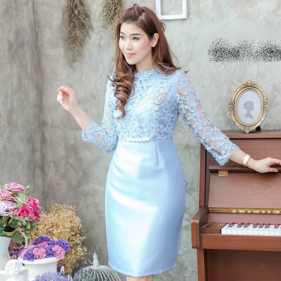 ชุดเดรสออกงาน ชุดไปงานแต่งงาน สีฟ้า ผ้าลูกไม้ แขนยาว เข้ารูป สวยหรู ดูดี