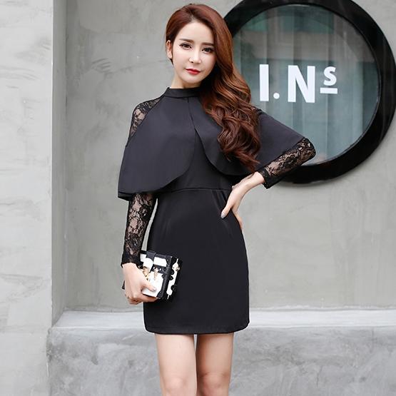 ชุดเดรสสั้นสีดำ แต่งระบาย แขนยาวลูกไม้ ลุคสวยเก๋ น่ารัก แฟชั่นสไตล์เกาหลี