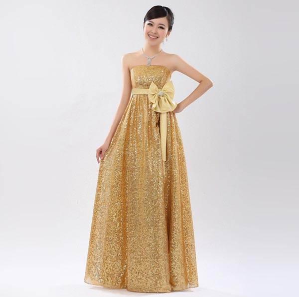 ชุดแซกยาวเกาหลี สีทอง ผ้ายืด