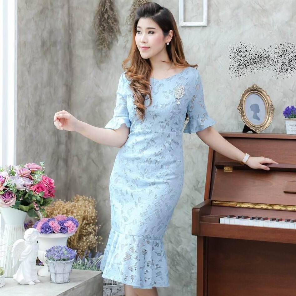 ชุดเดรสออกงาน ชุดไปงานสีฟ้า ผ้าลูกไม้ แนวเรียบร้อยสวยหรู