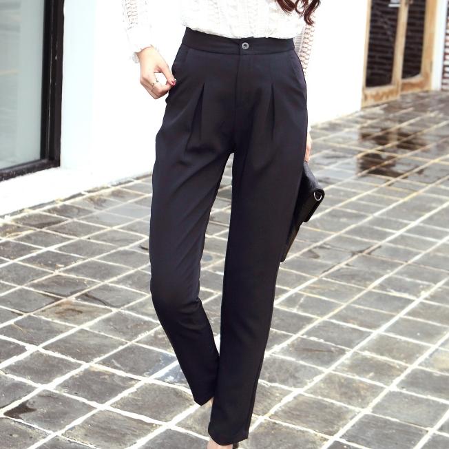 กางเกงทำงานผู้หญิงสีดำ ทรงเดฟ สวย ดูดี สไตล์สาวออฟฟิศ