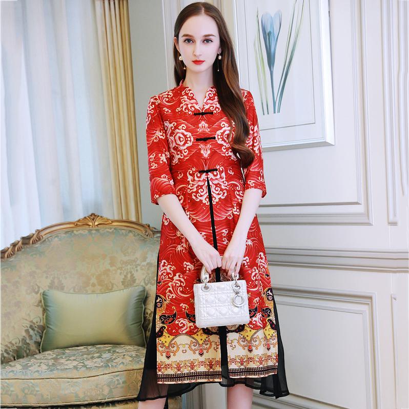 ชุดเดรสยาวสีแดงลุคสาวจีน สไตล์กี้เพ้า พิมพ์ลายสวยเก๋ (พร้อมส่ง)