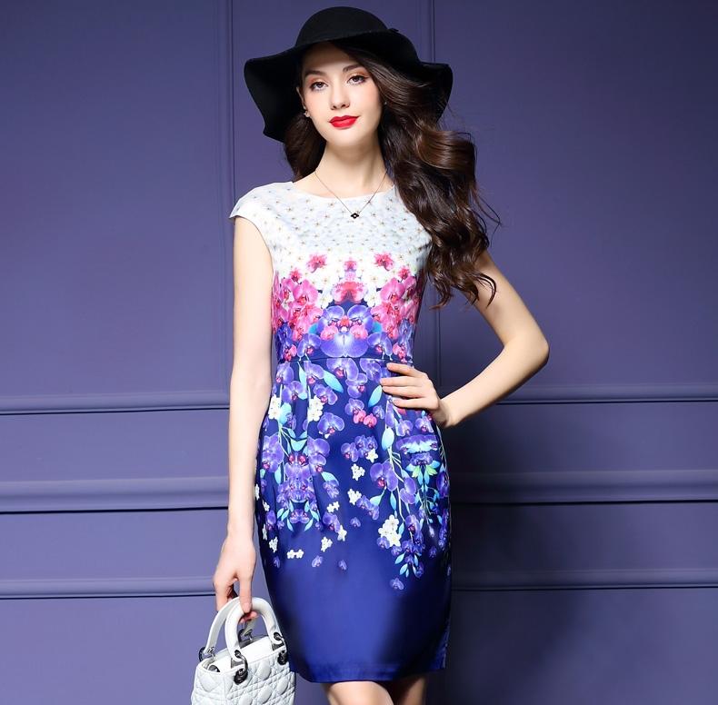 ชุดเดรสทำงานสวยหรู ดูดี ลายดอกไม้ โทนสีน้ำเงิน เข้ารูป แขนกุด