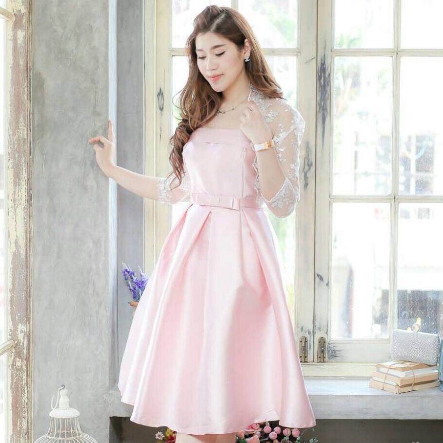 ชุดเดรสออกงาน/ชุดไปงานแต่งงานสวยหรู ดูดี สีชมพู