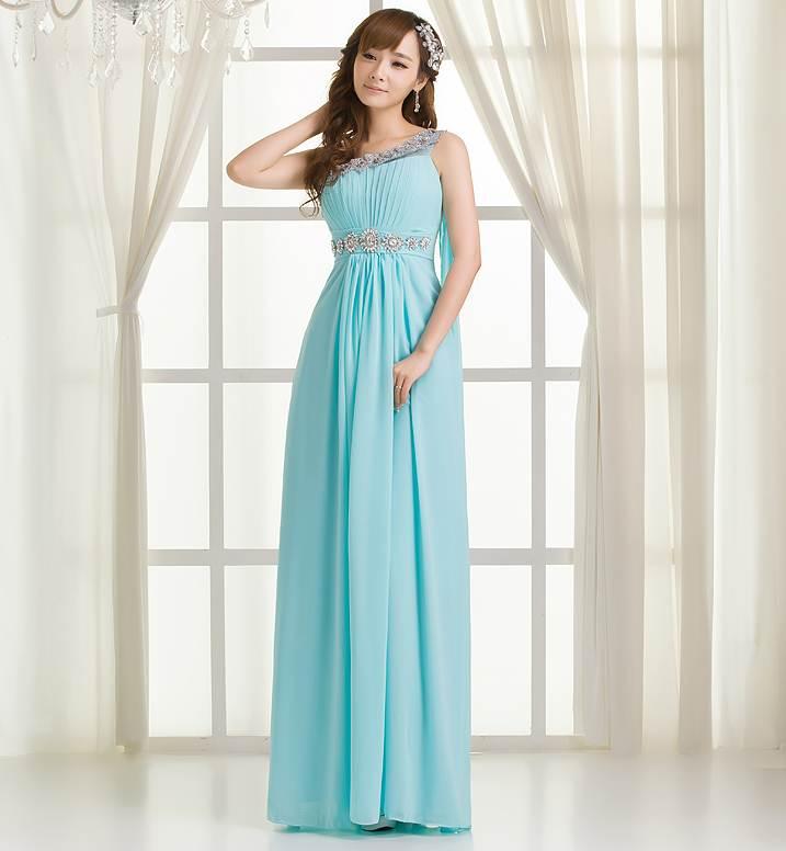 ชุดกระโปรงยาวน่ารัก สีฟ้าเข้ม ผ้ายืด