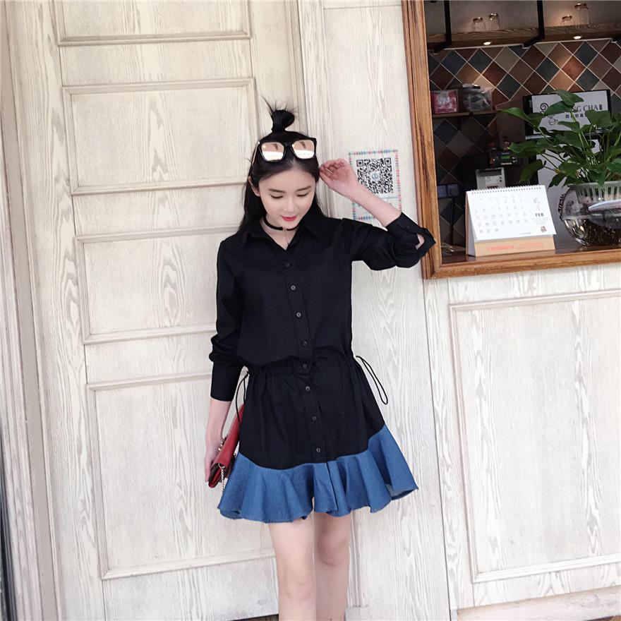ชุดเดรสสั้นสีดำ คอเชิ้ต แขนยาว สวยๆ น่ารัก แฟชั่นสไตล์เกาหลี