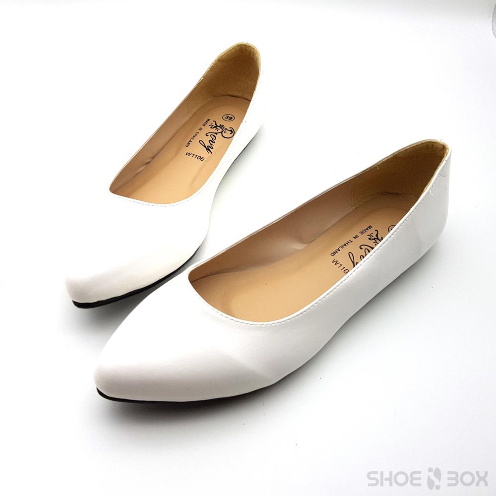 รองเท้าคัชชูส้นแบนRovy [W1106] - White
