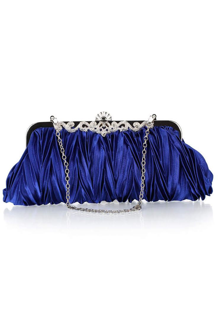 กระเป๋าคลัทช์ออกงานสีน่ำเงิน ทรงสีเหลี่ยมผืนผ้า จับจีบ ถือออกงาน ไปงานแต่งงาน ลุคเรียบๆ สวยเก๋